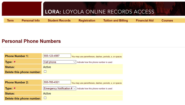LORA screenshot phone numbers